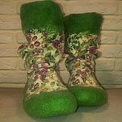 Тапочки ручной работы. Ярмарка Мастеров - ручная работа Носки валяные зеленые. Handmade.