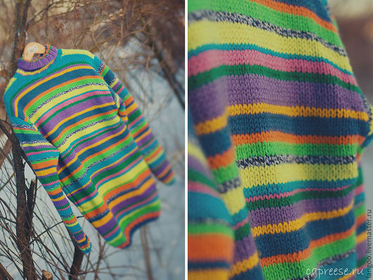 """Кофты и свитера ручной работы. Ярмарка Мастеров - ручная работа. Купить Свитер """"Цветотирания"""". Handmade. В полоску, свитер, мужской"""
