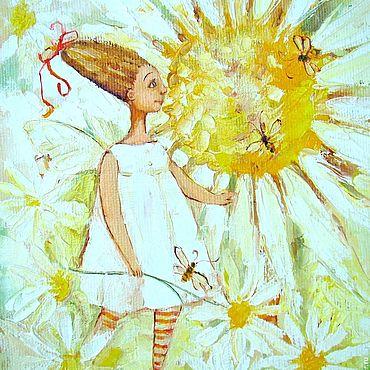 Картины и панно ручной работы. Ярмарка Мастеров - ручная работа Ромашковая фея.Картина маслом. Handmade.