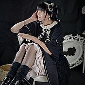 Одежда ручной работы. Ярмарка Мастеров - ручная работа Платье из чёрного льна с аппликацией. Handmade.