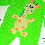 Работы для детей, handmade. Livemaster - original item Bright coverall with embroidery on 1-4 months. Handmade.