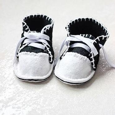 Обувь ручной работы. Ярмарка Мастеров - ручная работа Пинетки-кеды из полушерстяного испанского фетра. Handmade.