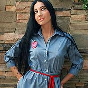 """Стильное джинсовое платье """"Красное яблоко"""""""