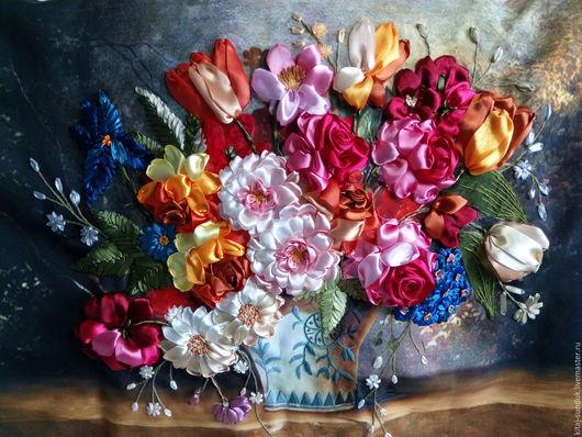 Картины цветов ручной работы. Ярмарка Мастеров - ручная работа. Купить Вышивка лентами Голландский натюрморт с тюльпанами и розами. Handmade.