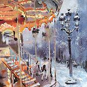 Картины и панно handmade. Livemaster - original item Pastel painting Winter carousel (snow Paris blue-purple orange). Handmade.