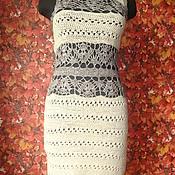 Одежда ручной работы. Ярмарка Мастеров - ручная работа платье матовый лен  и блестящая вискоза. Handmade.