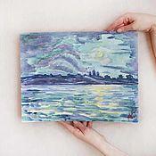 Картины ручной работы. Ярмарка Мастеров - ручная работа Луна над старым городом картина акварель пейзаж ночь река монастырь. Handmade.