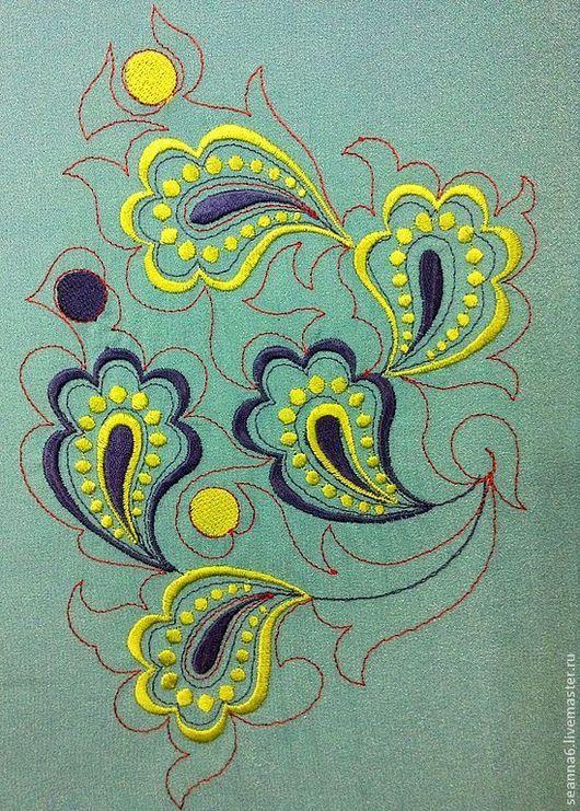 """Этно ручной работы. Ярмарка Мастеров - ручная работа. Купить Вышивка, вышитая картинка, картина, панно """"Восточный орнамент пейсли"""". Handmade."""