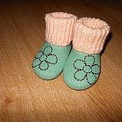 Обувь ручной работы. Ярмарка Мастеров - ручная работа Пинетки с цветком.. Handmade.