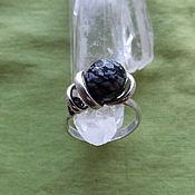 Украшения handmade. Livemaster - original item Ring with snow obsidian. Handmade.