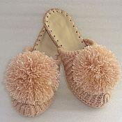 Обувь ручной работы. Ярмарка Мастеров - ручная работа Тапочки-шлепки на подошве Розовый гипноз, ангора. Handmade.