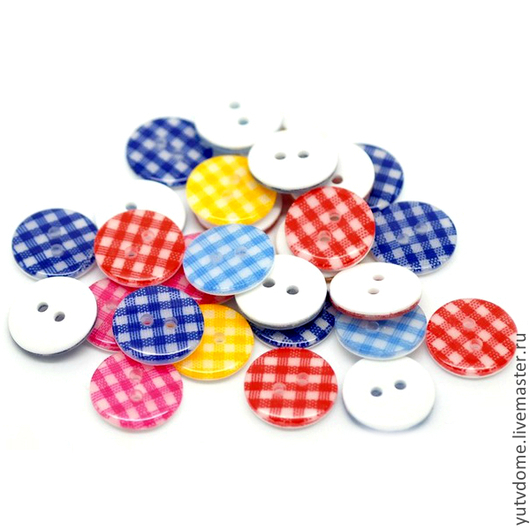 Шитье ручной работы. Ярмарка Мастеров - ручная работа. Купить 0641 Пуговицы пластиковые в клетку 15 мм 5 цветов. Handmade.