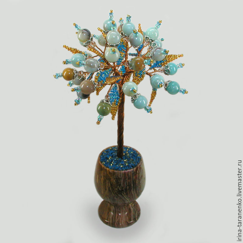 Tree of happiness amazonite in a vase of onyx