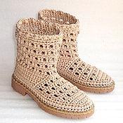 Обувь ручной работы. Ярмарка Мастеров - ручная работа Сапожки вязаные ажурные, хлопок, беж. Handmade.