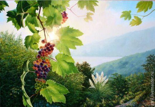 Пейзаж ручной работы. Ярмарка Мастеров - ручная работа. Купить Бархатный сезон. Handmade. Солнце, море, виноград, лето, зелень
