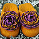 """Обувь ручной работы. Ярмарка Мастеров - ручная работа. Купить Валяные тапочки """"Хризантемы"""". Handmade. Оранжевый, шерсть 100%"""
