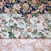 handmade. Livemaster - original item Cotton Chinese satin Moscow cotton fabric Provence flowers 0,5 m. Handmade.