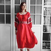 Одежда handmade. Livemaster - original item Red linen MIDI dress in boho style