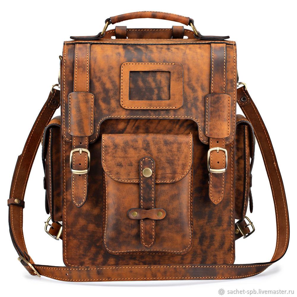 Leather satchel-briefcase ' John '(aging brown), Brief case, St. Petersburg,  Фото №1