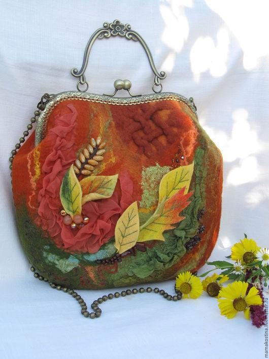 Женские сумки ручной работы. Ярмарка Мастеров - ручная работа. Купить сумка валяная Рыжая. Handmade. Рыжий, сумка осень