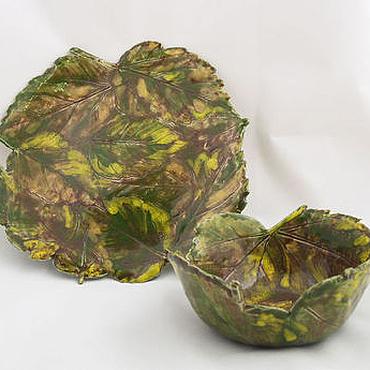 Посуда ручной работы. Ярмарка Мастеров - ручная работа Осенние листья - тарелка и пиала. Handmade.