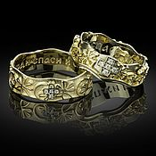 """Религиозное кольцо ручной работы. Ярмарка Мастеров - ручная работа Венчальное православное кольцо, """"Спаси и сохрани"""". Handmade."""
