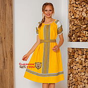 Одежда handmade. Livemaster - original item Dress festive linen Autumn. Handmade.