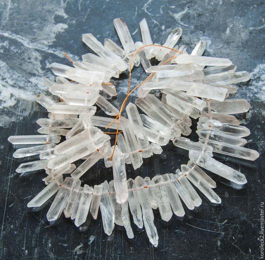 Для украшений ручной работы. Ярмарка Мастеров - ручная работа. Купить Бусины палочки из кристаллов необработанного прозрачного кварца. Handmade.