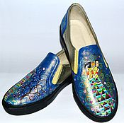 Обувь ручной работы. Ярмарка Мастеров - ручная работа Кожаные слипоны Ожидание весны. Handmade.