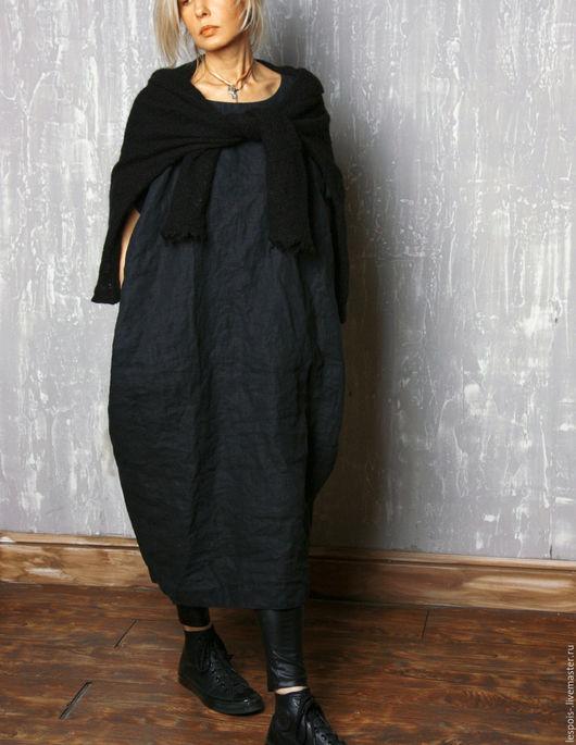 Платья ручной работы. Ярмарка Мастеров - ручная работа. Купить Льняное платье. Handmade. Черное платье, дизайнерская одежда