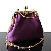 Clutches handmade. Livemaster - original item Evening handbag on the clasp suede purple. Handmade.