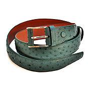 Аксессуары handmade. Livemaster - original item Men`s belt, made of ostrich leather, width 4 cm, dark green color.. Handmade.