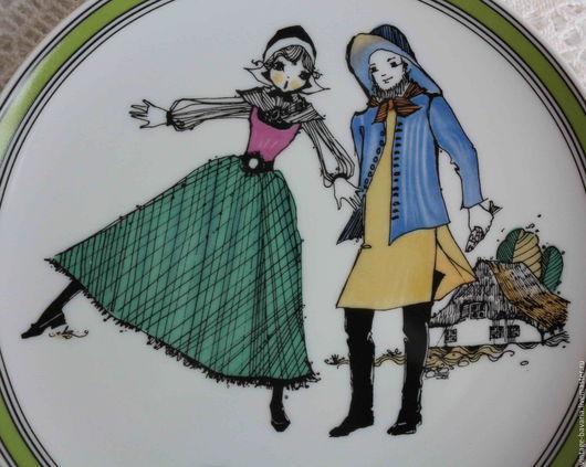 Винтажные предметы интерьера. Ярмарка Мастеров - ручная работа. Купить Декоративная тарелка «Случайное знакомство»  от Hutschenreuther, Герма. Handmade. Разноцветный