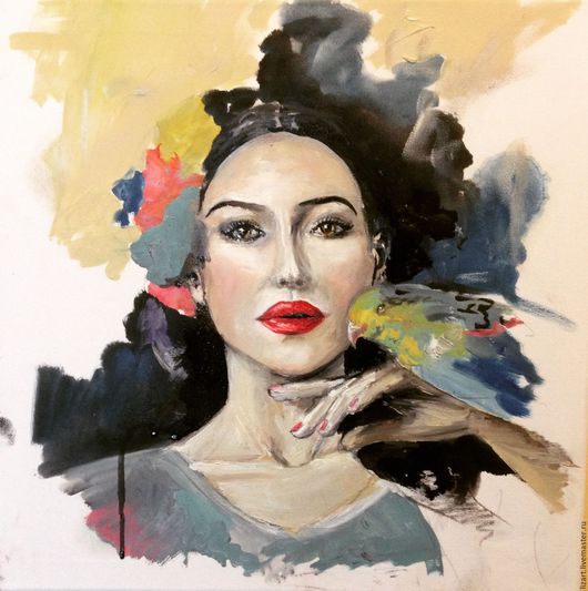 Люди, ручной работы. Ярмарка Мастеров - ручная работа. Купить Портрет Моники Белуччи. Handmade. Комбинированный, портрет, портрет на заказ