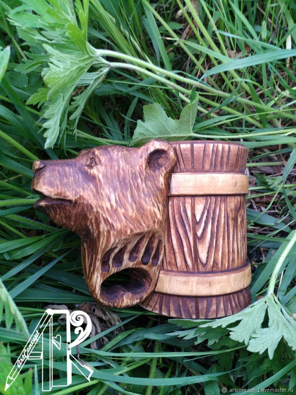 Mug beer wooden carved 'Bear', Mugs and cups, Ryazan,  Фото №1