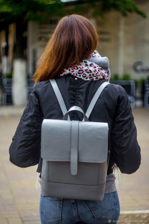 Backpack leather female 'Milk-chocolate' (Gray), Backpacks, Yaroslavl,  Фото №1