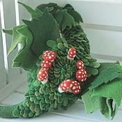 Куклы и игрушки ручной работы. Ярмарка Мастеров - ручная работа Мухоморы в листьях, валяный дракон. Handmade.