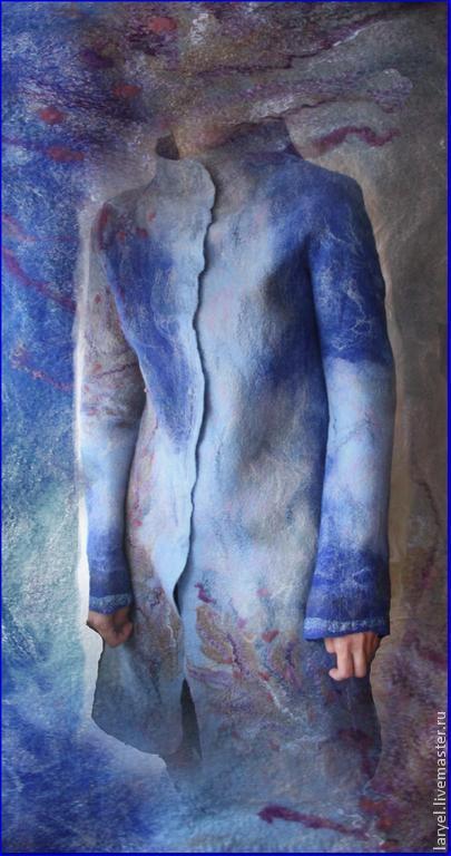 Верхняя одежда ручной работы. Ярмарка Мастеров - ручная работа. Купить Пальто валяное Весеннее небо. Handmade. Пальто валяное