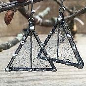 Украшения ручной работы. Ярмарка Мастеров - ручная работа Серьги дождливые окошки треугольные. Handmade.
