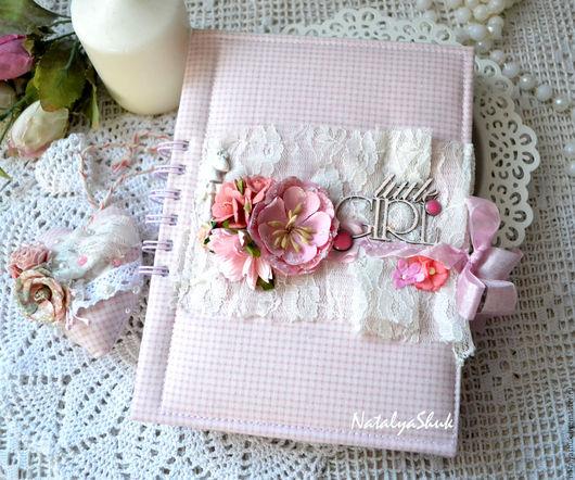 Подарки для новорожденных, ручной работы. Ярмарка Мастеров - ручная работа. Купить Мамин дневничок. Handmade. Розовый, Скрапбукинг, для детской