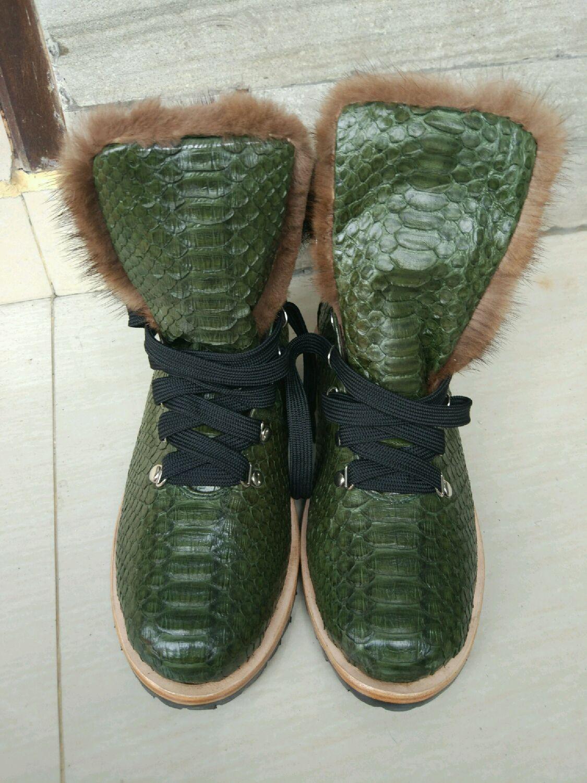 949006036656 Ботинки из питона с мехом норки – купить в интернет-магазине на Ярмарке  Мастеров ...
