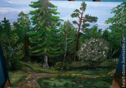 Пейзаж ручной работы. Ярмарка Мастеров - ручная работа. Купить Тропинка в лесу. Handmade. Тёмно-зелёный, масло, холст на картоне