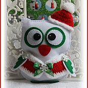 Мягкие игрушки ручной работы. Ярмарка Мастеров - ручная работа Сова из фетра новогодняя. Handmade.
