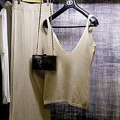 Одежда handmade. Livemaster - original item Cashmere top ( milky color ). Handmade.