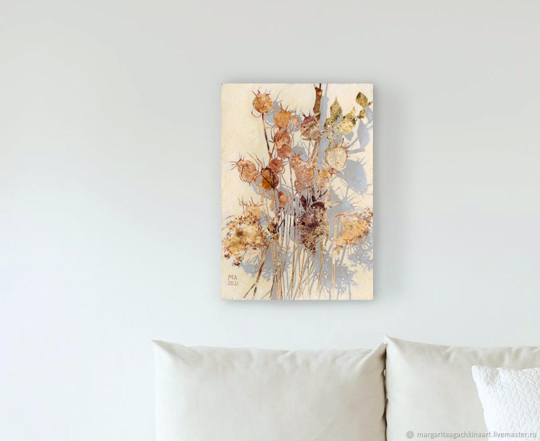 Картина Осенний букет (белый, бордовый,  цветы), Картины, Смоленск,  Фото №1