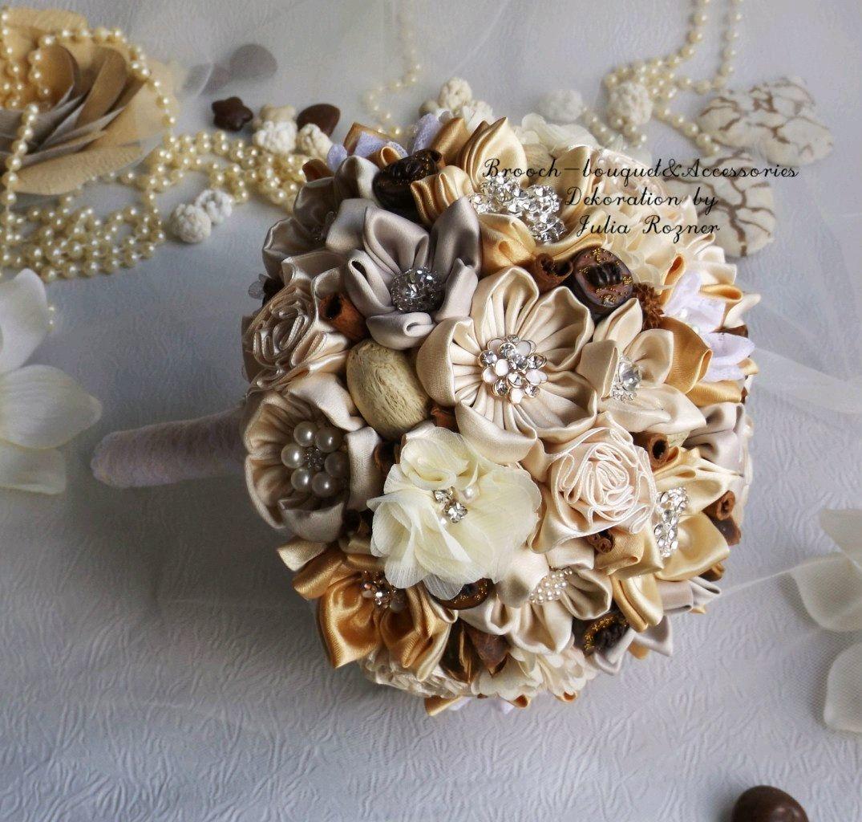 Cream Wedding Brooch Bouquet With Cinnamon Shop Online On