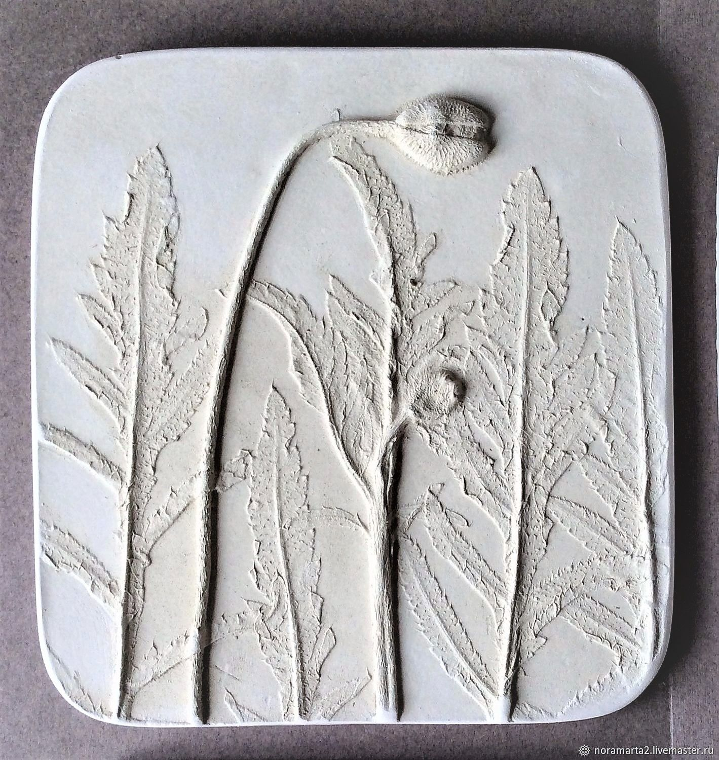 gypsum panels: Mac (18,5h18,5cm) Gypsum Botanical panels of Bas-relief, Panels, Krasnoyarsk,  Фото №1