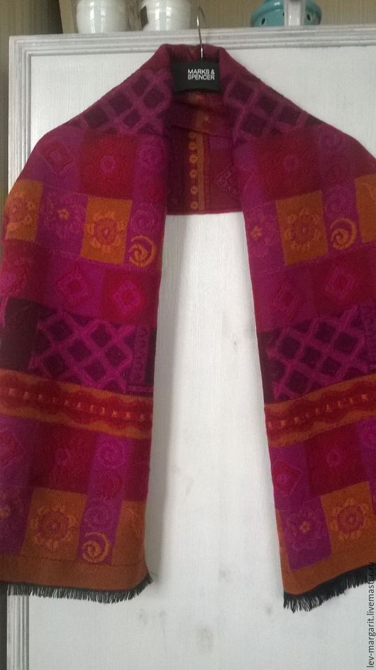 Винтажная одежда и аксессуары. Ярмарка Мастеров - ручная работа. Купить 20 Ягодно-розовый палантин. Handmade. Комбинированный, шарф женский