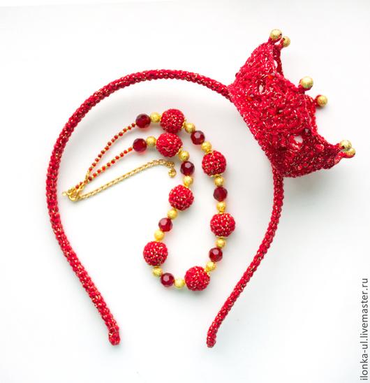 """Детская бижутерия ручной работы. Ярмарка Мастеров - ручная работа. Купить Комплект """"Принцесса в красном"""": ободок с короной и ожерелье. Handmade."""