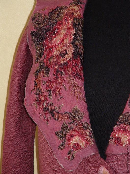 """Пиджаки, жакеты ручной работы. Ярмарка Мастеров - ручная работа. Купить Валяный пиджак """" Дымчатая роза """" темная. Handmade."""